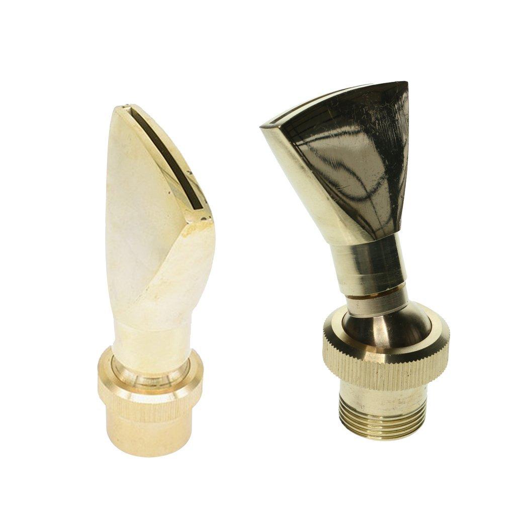 Homyl 2pcs Fountain Nozzle Sprinkler Water Spray Head Fan Shape Brass Fan
