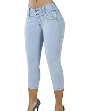 Guiran Mujer Elásticos Vaqueros Skinny Push Up Capri Jeans Pantalon Cropped