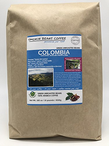 10-lbs COLOMBIA – ADVENTURE SERIES – Unroasted Green SPECIALTY-GRADE Coffee Beans, FRESH-HARVEST – HUILA known for Producing Best Coffee in Colombia – Sustainably Grown under Rainforest Canopy