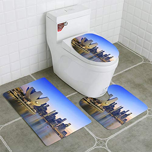 BEISISS Bathroom Mat Sets 4 Piece-Non-Slip - Short Plush Singapore City Skyline View at Marina Bay Bathroom Rug + Contour pad + lid Toilet seat+Toilet seat Cushion