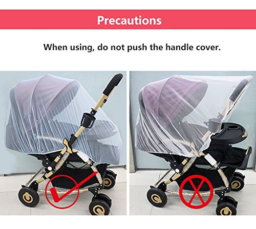 Mosquito Net Bug Net for Baby Strollers Infant Carriers Baby Cradle Ultra Fine Mesh Protection Against Mosquitos No Harmful Chemicals Help Baby Stay Away from Bugs (White) by Generic (Image #2)