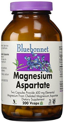 BlueBonnet Magnesium Aspartate Vegetarian Capsules, 400 mg, 200 Count