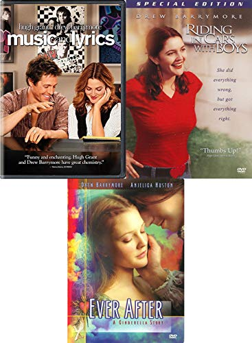 Boys Music & Drew Barrymore Movie Bundle - Ever After + Riding in Cars with Boys + Music and Lyrics 3-DVD Set Triple Feature Romantic stories
