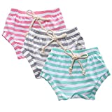 AMOUR TIME 3 Pack Toddler Baby Boys Girls Striped Shorts Little Kids Summer Bloomers (Green,Grey,Pink, 3T-4T)