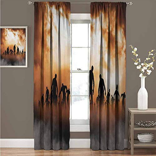 Haunted Places In Philadelphia For Halloween (EDZEL Bedroom Thermal Blackout Curtains, Home Bedroom Wall Decorations, Halloween Decorations, Zombies Dead Men Body Walking in The Doom Mist at Dark Night Sky Haunted Decor, 120