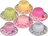Dozen Pack Kids Girls Straw Summer Hats (Assorted Colors)