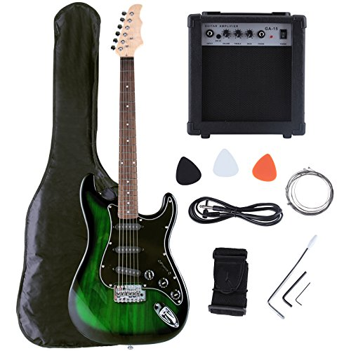buy lagrima 39inch full size electric guitar amp for complete beginner starters kit with tuner. Black Bedroom Furniture Sets. Home Design Ideas