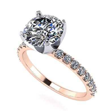 f33aaab600d2b3 NANA Round Cut 6.5mm (1ct) Zirconia Solitaire Engagement Ring - 10k Rose  Gold