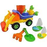 Beach Toys Sand Roller Dump Truck Set for Kids with Rake, Shovel, Sandwheel, Sailboats, & Mold