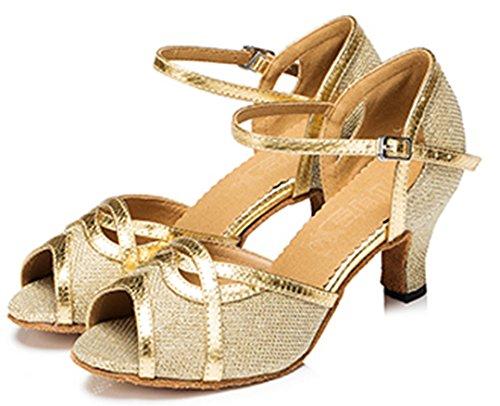 Tda Kvinna Peep Toe Mid Häl Syntetisk Glitter Spänne Salsa Tango Balsal Latin Moderna Dansskor Guld
