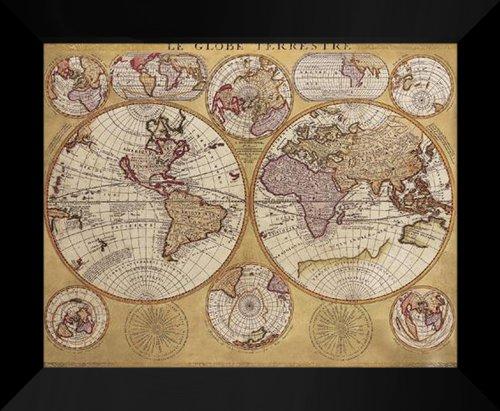 "Coronelli FRAMED 20x24 ""Antique Map - Globe Terrestre"""