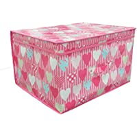 Universal Textiles Childrens Girls Folding Heart Pattern Storage Chest (One Size) (Pink)