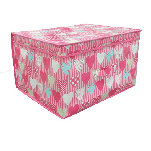 Universal Textiles Childrens Girls Folding Heart Pattern Storage Chest (One Size) (Pink) -