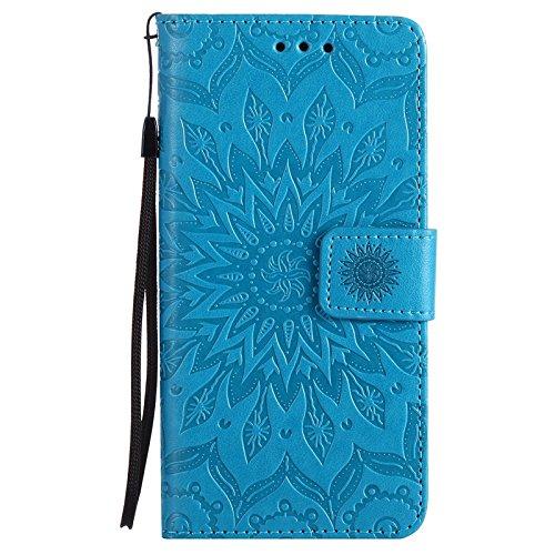 YAJIE-Carcasa Funda Para el caso Huawei P9, Sun Flower Printing Design PU Leather Flip Funda protectora del acollador de la billetera con ranura para tarjeta ( Color : Purple ) Blue
