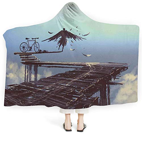 iPrint Born to Blanket Adults-Wearable Farm House Decor Perfect Kids Panorama Old Italian Fish Village Beach Old Province Coastal Charm Image (Adults 60