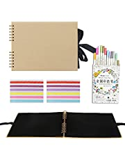 Rayking Scrapbook Photo Album with Yellow Page 12x9, Yellow Cover (40 Sheets, 80 pages) With 12 Pcs Markers Paints Pens