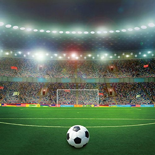(Baocicco 8x8ft Soccer Superbowl Backdrop Competition Playground Photography Background Gym Football Sports Match Stadium Shiny Spotlights Green Grassland Full Audience Seats Children Adult)