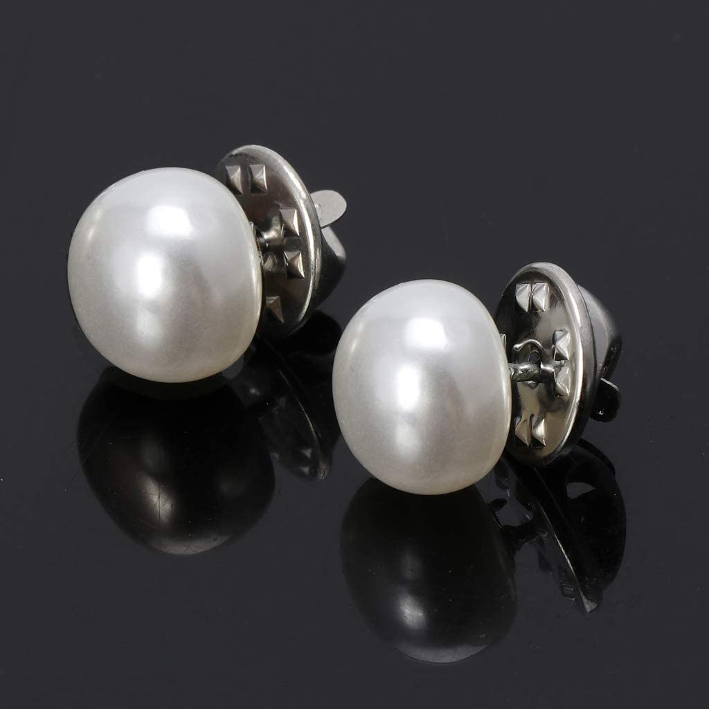 Rbxibibx Womens Brooches Pins,20Pcs White Pearl Sweater Shawl Clip Clothing Decor Brooches Safety Pins Women