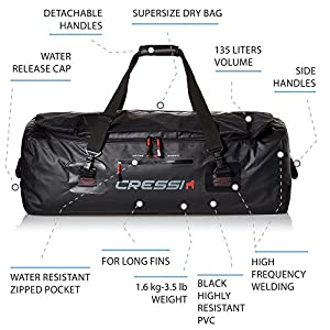 Waterproof Bag for Scuba Freediving Equipment – 135 Liters Capacity | Gorilla PRO XL by Cressi: Quality Since 1946