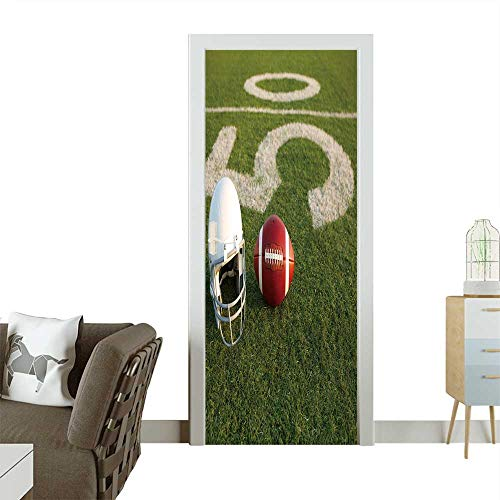 3D Photo Door Murals American Football and Helmet on The Field with The Fifty Yard Line in The Background Easy to Clean and Apply W23 x H70 INCH