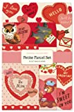 Cavallini Papers Parcel Set Vintage Valentines Gift Bags, Petite, Set of 12