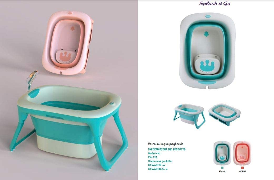 AZIAMOR 6102 Vaschetta Splash/&Go per Il Bagno Neonato Pieghevole e richiudibile 0-12 Mesi Azzurro