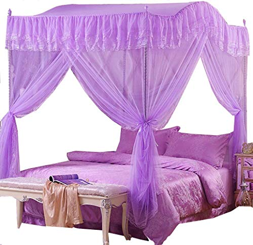 Mengersi Arched 4 Corners Post Bed Curtain Canopy Mosquito Net Square Princess Fly Screen, Indoor Outdoor (Full, Purple)