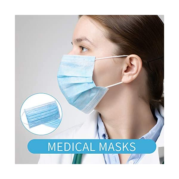 Máscaras desechables, máscara sellada con bucle elástico para los oídos, 3 capas transpirables, cómoda máscara sanitaria para uso al aire libre, oficina en el hogar-10 Pcs 2