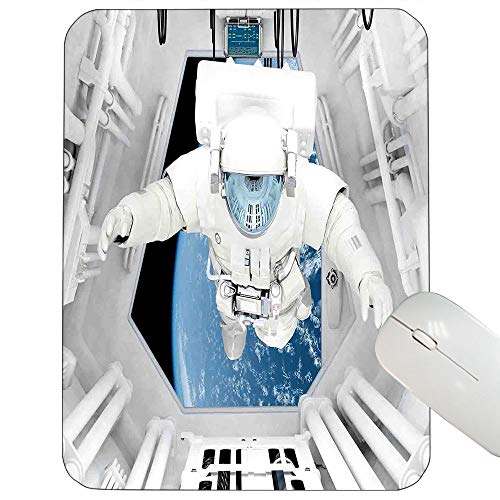 Outer Space Decor Customized Mouse pad Astronaut Inside Spaceship Cosmic Journey Celestial World Universe Theme Gaming Mouse pad White Blue 9