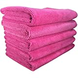 SOFTSPUN Microfiber Cloth - 5 pcs - 40x60 cms - 340 GSM Pink - Thick Lint & Streak-Free Multipurpose Cloths - Automotive Microfibre Towels for Car Bike Cleaning Polishing Washing & Detailing
