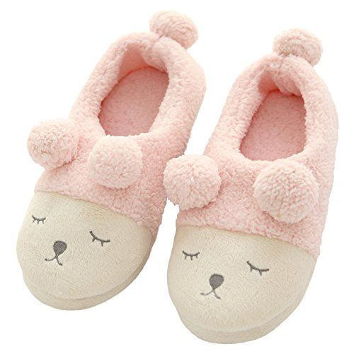 Soft Slippers Women's Home bestfur Pink Plush Cozy Cute Sole Shoes House Fleece wE4SUB