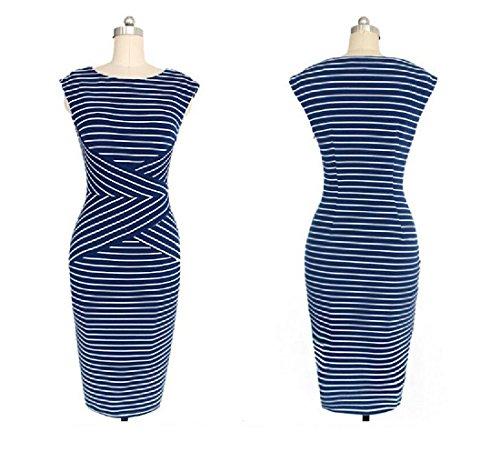Coolred-femmes V Cou 3/4 Fines Rayures Travail Longueur Robes De Soirée Élégante As1