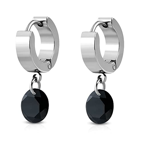 1 Paar Ohrhänger Ohrstecker Ohrringe Creolen Edelstahl Damen Zirkonia Schmuck