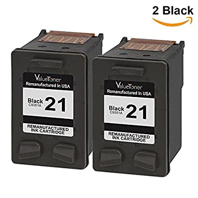 Valuetoner Remanufactured Ink Cartridge Replacement For Hewlett Packard HP 21 C9508BN C9351AN (2 Black) 2 Pack Compatible With DESKJET 3910 3915 3918 3920 3930 3938 3210 Printer