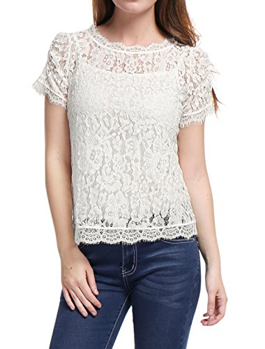 (Allegra K Women's Scalloped Trim See Through Semi Sheer Floral Lace Top White L (US 14))