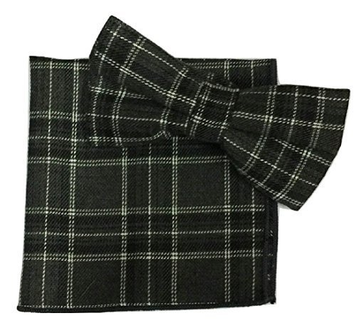 Pcs Tartan Black Cotton amp;L® L Hanky Tie Pocket Bow Handkerchief UK Set Square 2 Ew6ICq