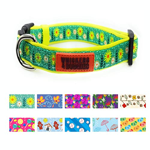 WHISKERS & BUDDIES Dog Collar with 10 Patterns Adjustable, Extra Soft and Comfy (Large (1