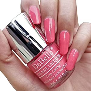 DeBelle Nail Polish Combo set of 2, Hot Pink (BeBe Kiss) and Maroon(Moulin Rouge),16 ml (8 ml each)