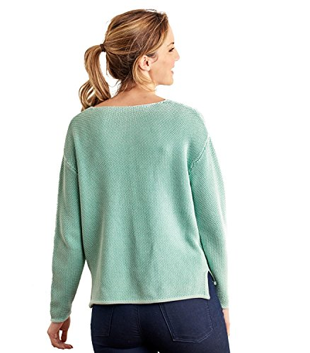 WoolOvers Pull texturé à col V - Pur Coton Green, S