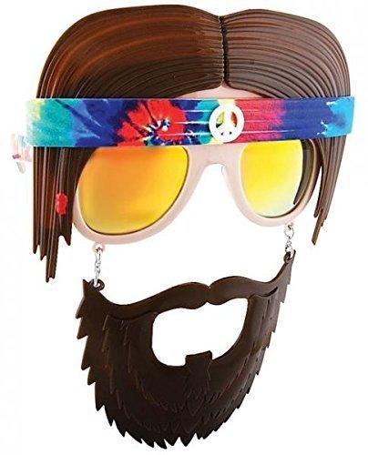 Reflective Lens Hippie Retro Bandana Beard - Sun Novelty Glasses