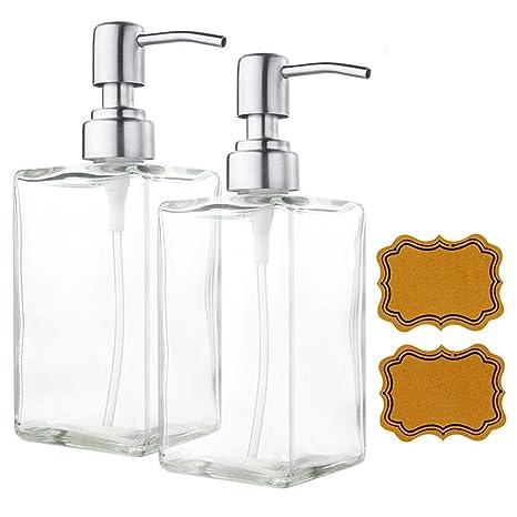 Dispensador de Jabón Limpio de Vidrio y Acero Inoxidable Rellenado de Botellas de Transparente Rectangular de