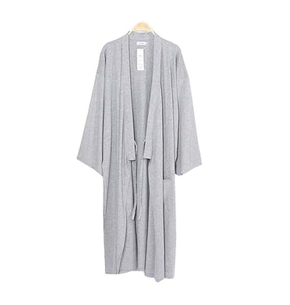 Kimono de algodón para hombres Batas de dormir Pijamas Khan Steamed Albornoz Yukata - G