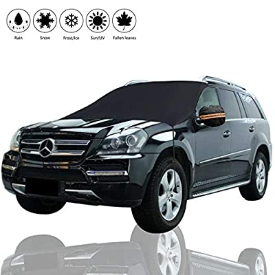 Windshield Snow Cover, Winter Car Snow Cover, Universal Huge Size Fits Any Car, Truck, SUV, Van, Automobile, Protector Shade for Snow, Ice, Frost, Waterproof Windproof Dustproof Outdoor Car Cover-L