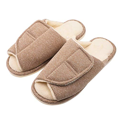 Women's Extra Wide Swollen Foot Slippers, Plantar Fasciitis Orthopedic Diabetic Edema Flat Feet Bunions Slippers Brown