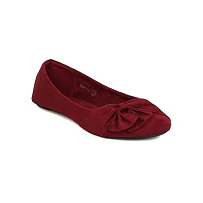 b922916c1 Women Faux Suede Bow Flat - Casual, Dressy, Office - Ruched Ballet Flat -  GC69 By Refresh