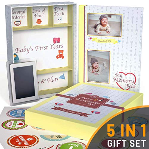 Little Growers Baby Memory Book with Keepsake Box, Baby Milestone Stickers and Baby Footprint Kit – Not Just a New Baby Scrapbook or Photo Album, But 5 Baby Shower Gifts in 1, for Newborn Boy or Girl
