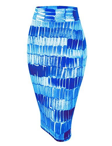WB1304 Womens Print Midi Pencil Skirt M DEEP_Blue