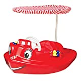 MRT SUPPLY Plastic Molded Baby Swimming Pool Tug Boat Float with Toys and Canopy With Ebook