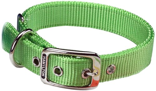 Hamilton Double Thick Nylon Deluxe Dog Collar, 1-Inch by 20-Inch, Lime Green