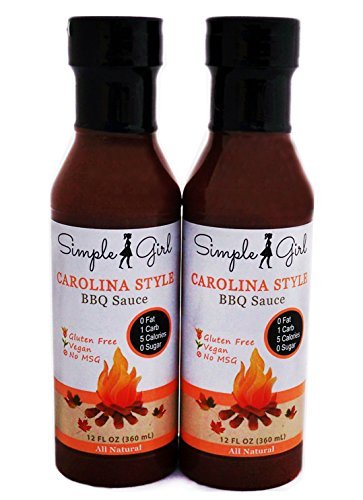Simple Girl Carolina Style BBQ Sauce 12oz - Sugar Free - Low Calorie - Diabetic/Vegan Friendly - Gluten/Fat/MSG Free - Compatible with Most Diet Plans - 2 pack